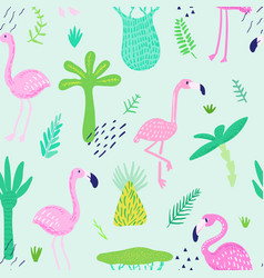 tropical seamless pattern with cute flamingo vector image
