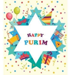 David star with objects of Purim holiday Jewish vector image vector image