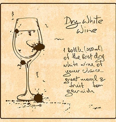 Hand drawn White Wine vector image vector image