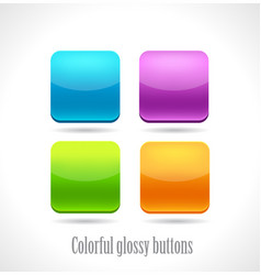 set of glossy button icons vector image