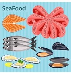 Set sea food ingredients vector image