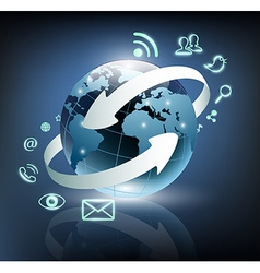 Social media icons are turning around the planet vector image vector image