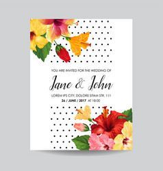 wedding invitation template with hibiscus flowers vector image vector image