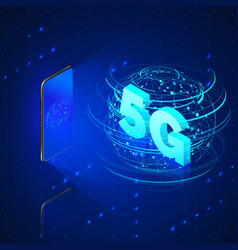 5g fast mobile networks mobile phone and hologram vector