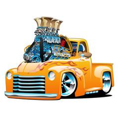 american classic hot rod pickup truck cartoon vector image