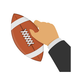 american football ball in hand vector image
