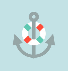 anchor and swim ring nautical icon flat design vector image