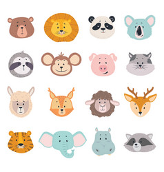 animal faces cute doodle head bear lion and vector image