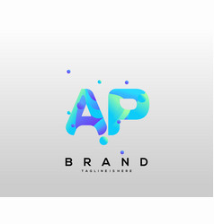 Ap initial logo with colorful template vector