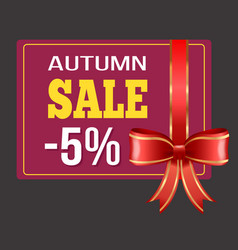 Autumn sale and discount card with ribbon vector