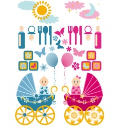 baby set en blue pin vector image
