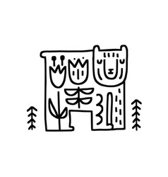 Bear in nature vector