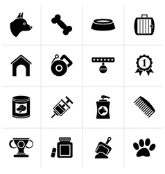 Black Dog and Cynology object icons vector image