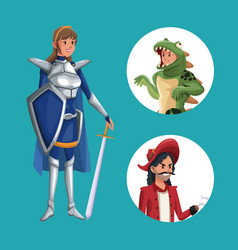 Blue poster with warrior princess costume and vector