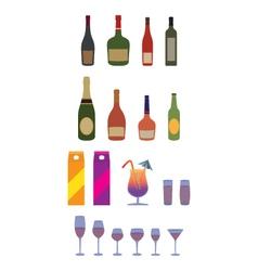Bottles stemware glasses Alcohol beverages vector image