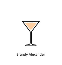 Brandy alexander cocktail icon in flat style vector