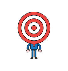 Businessman character with bulls eye head color vector