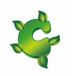 C letter logo with green leaf eco vector image