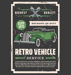 car repair service cabriolet and mechanic on duty vector image