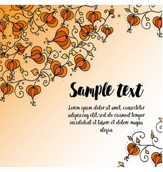 Card with autumn doodling floral pattern vector