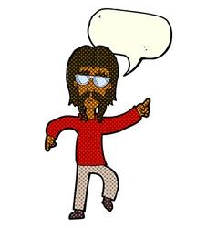 Cartoon hippie man wearing glasses with speech vector