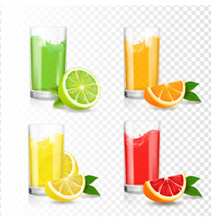 citrus juice in glass orange lime grapefruit vector image