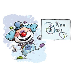 Clown holding an its a boy card vector