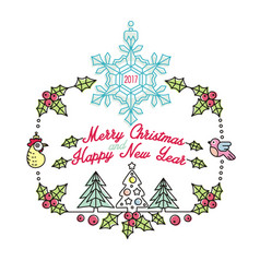 colorful christmas card with snowflakes birds vector image