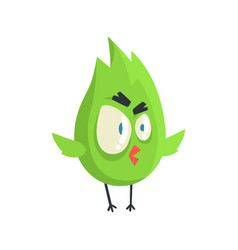 Cute little green funny angry chick bird standing vector