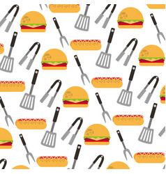 delicious fast food and cutleries pattern vector image