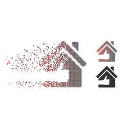 dispersed pixel halftone excellent house icon vector image