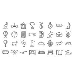 Dog training course icons set outline style vector