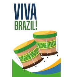 Drum instrument of brazil design vector