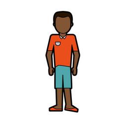 Faceless dark skin man wearing polo shirt and vector