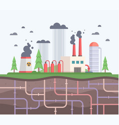 Factory with underground pipes - modern flat vector