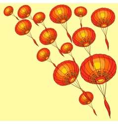 Fairy-lights Big traditional chinese lanterns vector image