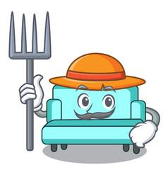 Farmer sofa character cartoon style vector