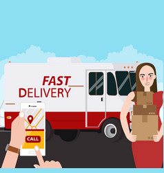 fast delivery girl holding box package order via vector image