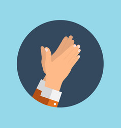 Flat concept of success applause hands clapping vector