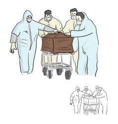 Four people in ppe suit or personal protective vector