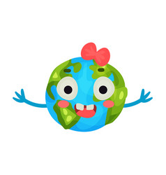funny smiling cartoon earth planet emoji with red vector image