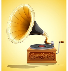 Gramophone with recorder on yellow vector image