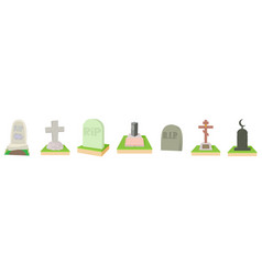 grave icon set cartoon style vector image