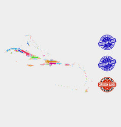 Hand collage caribbean islands map and grunge vector