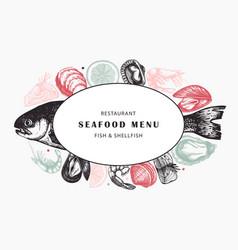 hand drawn fish and shellfish sketches with herbs vector image