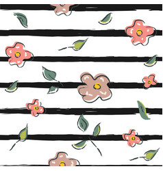 hand drawn seamless floral pattern with black vector image