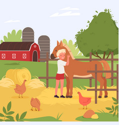 happy child spend fun time with domestic farm vector image