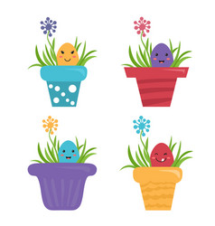 Happy egg in style kawaii in garden pot with grass vector