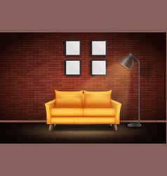 Interior living room and loft vector
