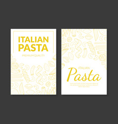 Italian pasta premium quality card template vector